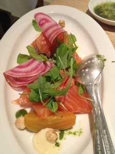 smoked salmon and beets at de Kas